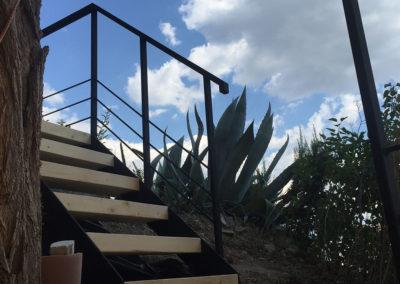 Escalier de jardin acier/bois